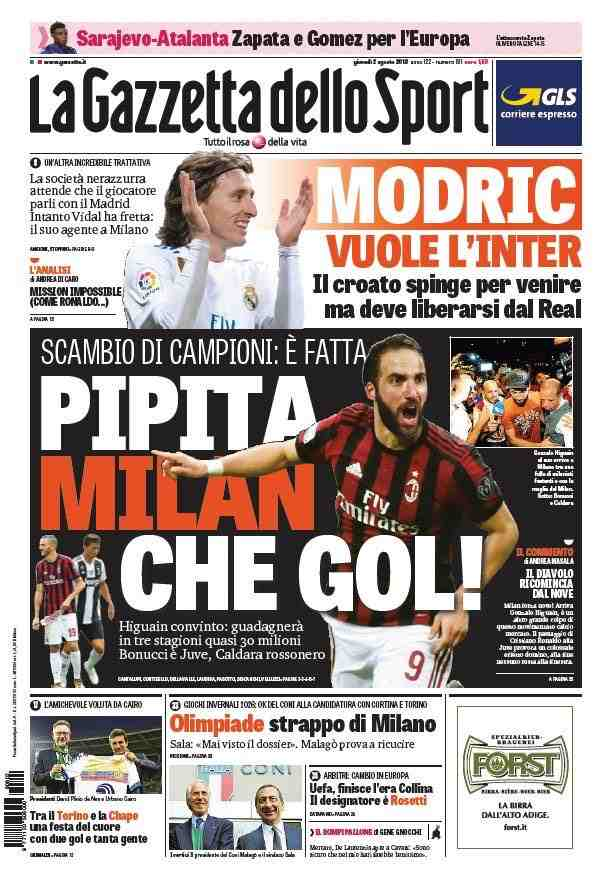Posible partida de Modric en la portada (Foto: La Gazzetta dello Sport).