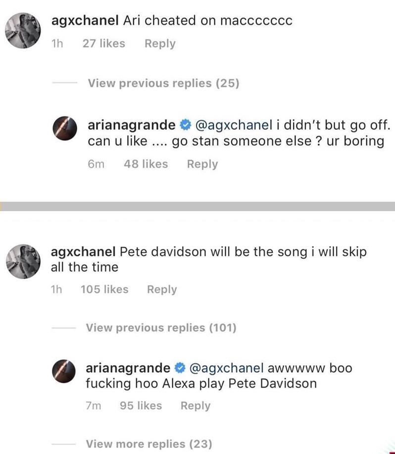 Ariana Grande responde en Instagram.