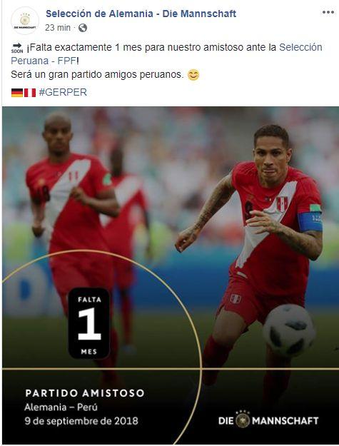 El mensaje de la Selección de Alemania a propósito del amistoso con Perú.