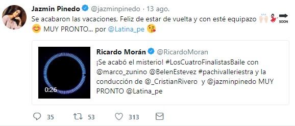 Jazmín Pinedo vía Twitter.