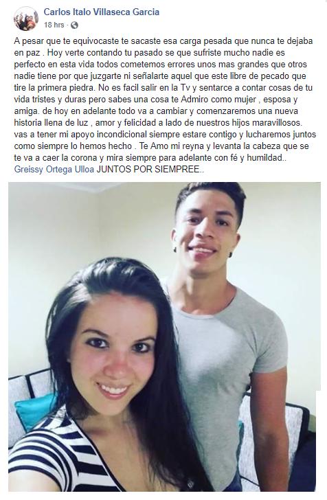 Ítalo Villaseca envía mensaje en Facebook a Greysi Ulloa.