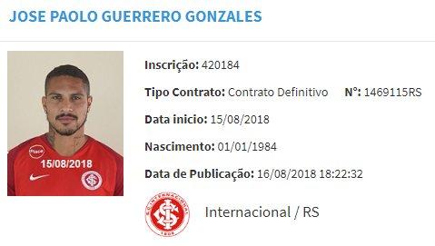 Paolo Guerrero fue registrado y quedó habilitado para jugar en Inter de Porto Alegre. (Foto: Captura CBF)