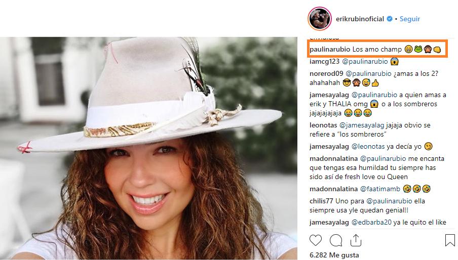 Paulina Rubio comentó fotografía en Instagram. (Foto: Instagram)