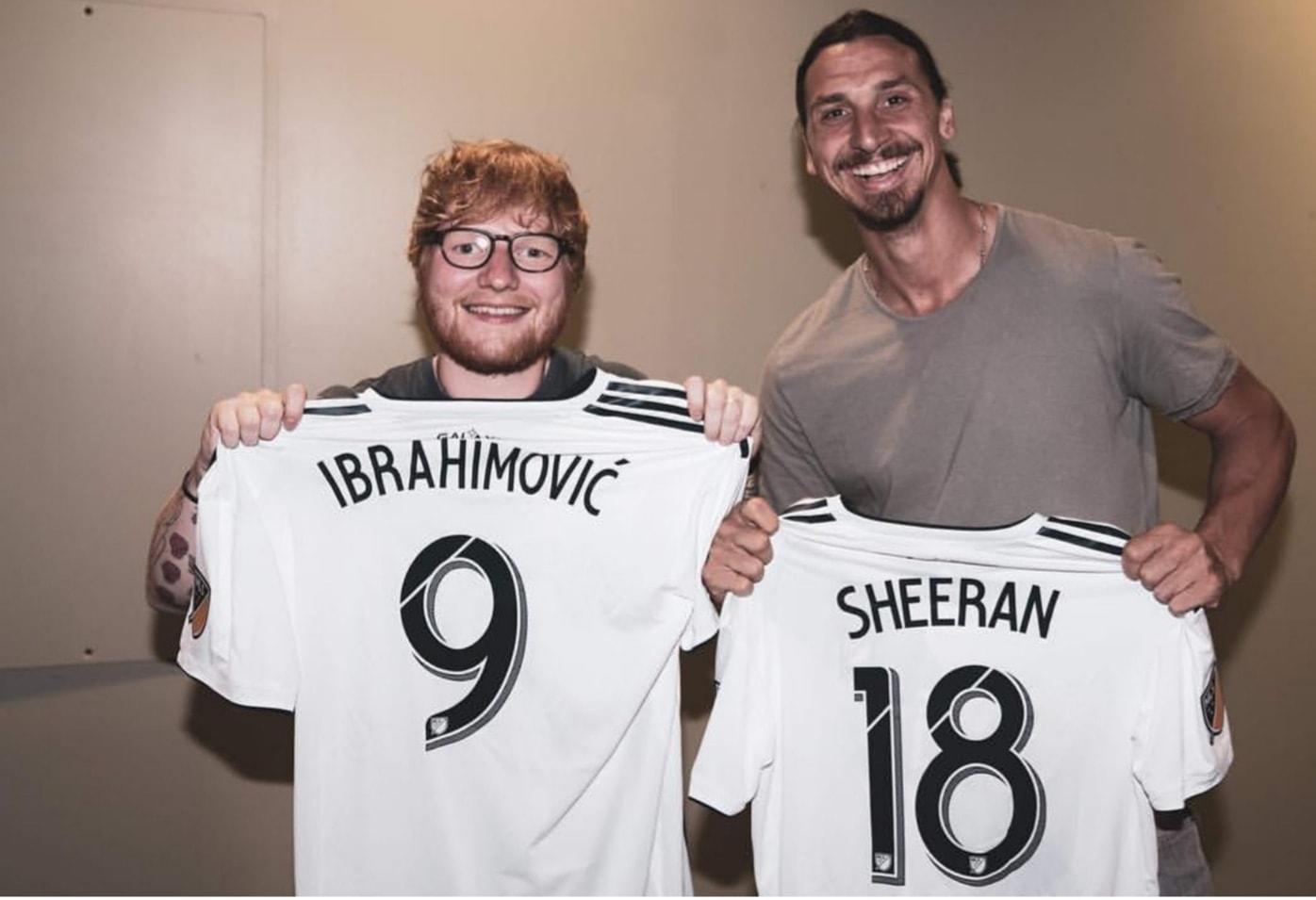 Ed Sheeran y Zlatan Ibrahimović en concierto en Estados Unidos (Foto: Facebook)