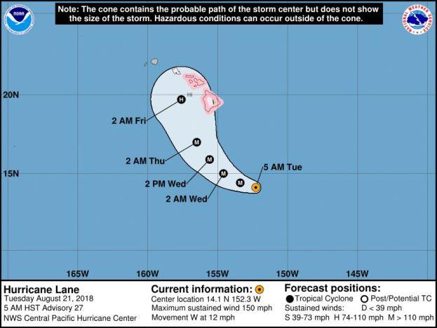 La trayectoria prevista del huracán Lane, según la CPHC. (Foto: Centro de Huracanes del Pacífico Central)