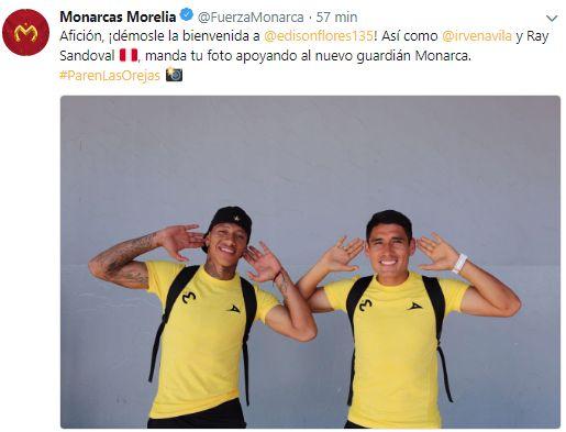 El saludo de Ávila y Sandoval a Edison Flores. (Foto; Twitter)