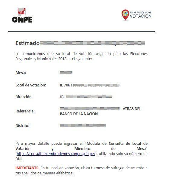 La ONPE envió mensajes a los correos electrónicos de los ciudadanos para confirmar local de votación.