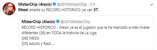 La publicación de Mister Chip sobre el récord de Lionel Messi. (Captura: Twitter)