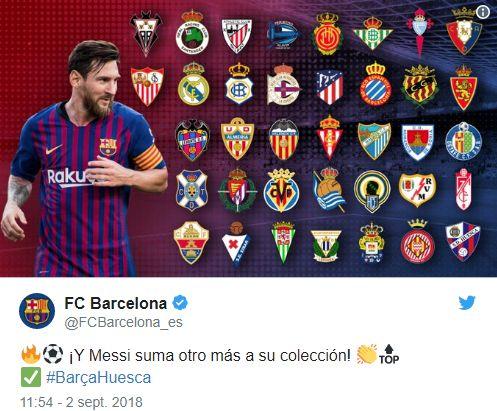 Los 37 clubes a los que Lionel Messi le anotó en la Liga. (Captura: Twitter)