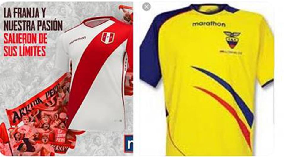 Camiseta de la Selección Peruana Marathon 2018 y camiseta de la misma marca deportiva, pero para Ecuador en 2006. (Foto: captura de pantalla)