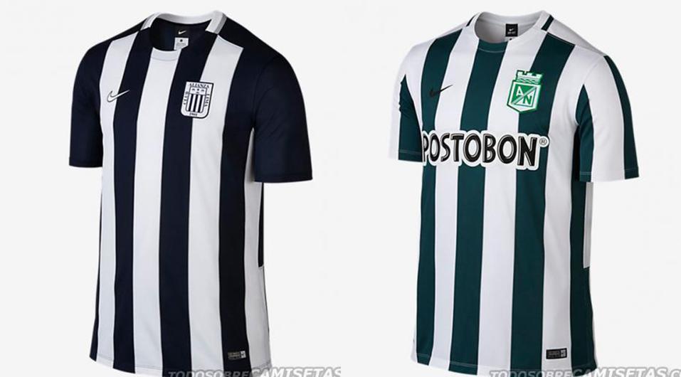 Alianza Lima presentó su camiseta Nike 2015 y era idéntica a la de Atlético Nacional de Colombia. Es una práctica común de las marcas deportivas. (Foto: TodoSobreCamisetas.com)