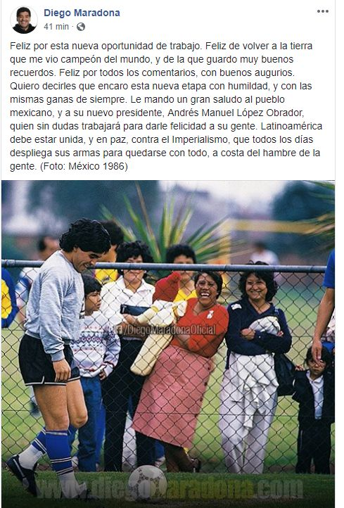 La publicación de Diego Maradona en Facebook.