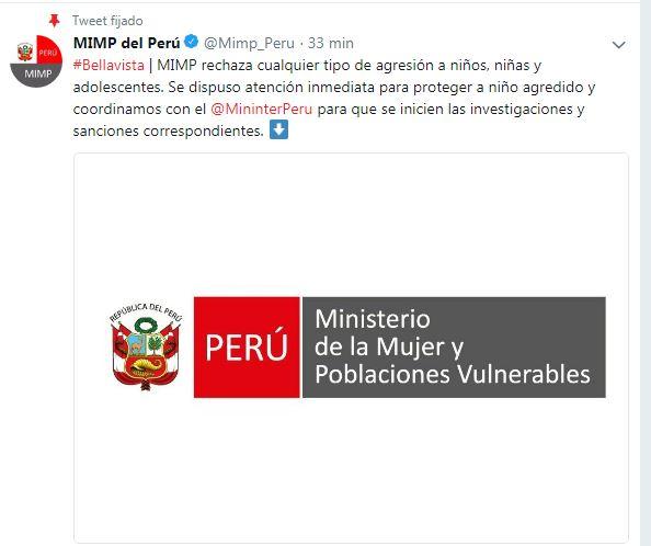 Tuit del Ministerio de la Mujer y Poblaciones Vulnerables. (Imagen: Twitter)
