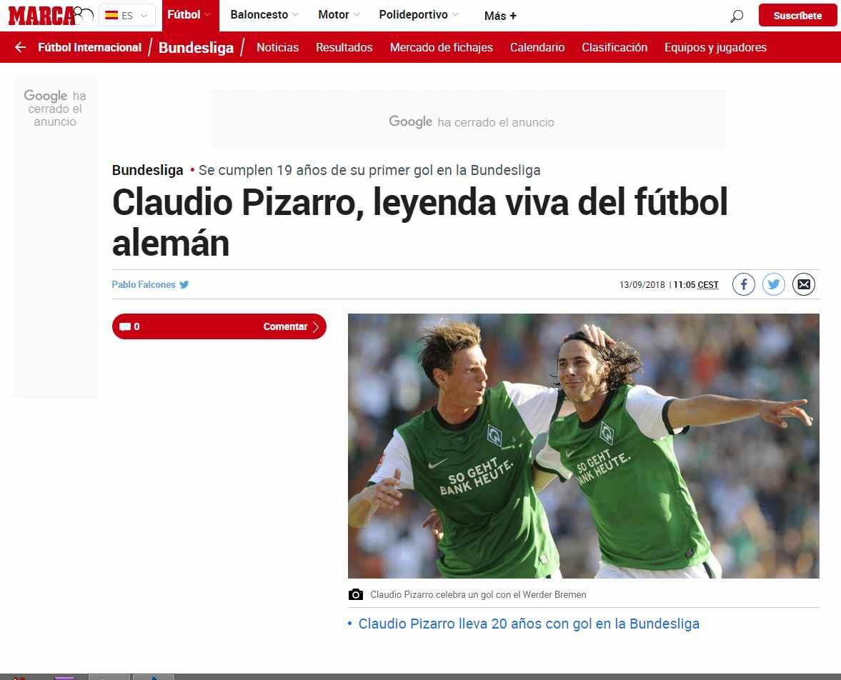 Claudio Pizarro, leyenda viva del fútbol alemán (Foto: captura de Marca).