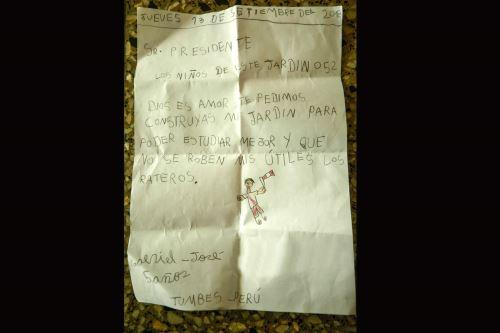 Esta es la carta que el niño le escribió a Vizcarra. (Foto: Agencia Andina)
