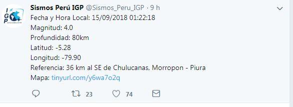 Piura también tembló esta mañana. (Foto: Twitter IGP)