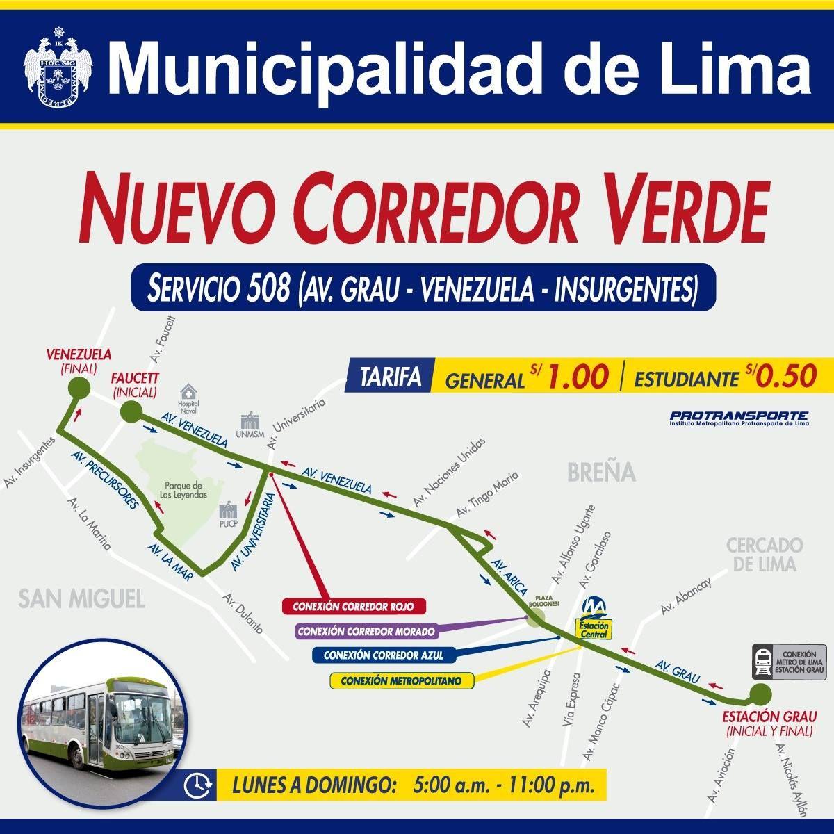 Este es el trayecto del Corredor Verde. (Facebook)