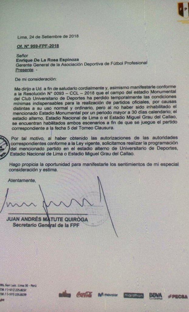 Esta es la carta de la FPF a la ADFP. (Twitter Carlos Benavente)