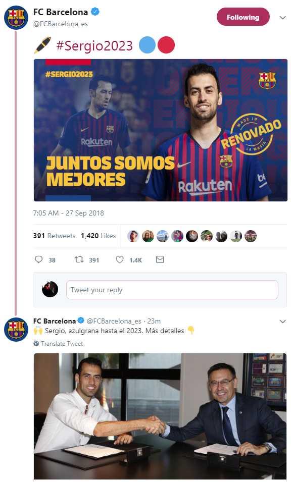 Twitter FC Barcelona.