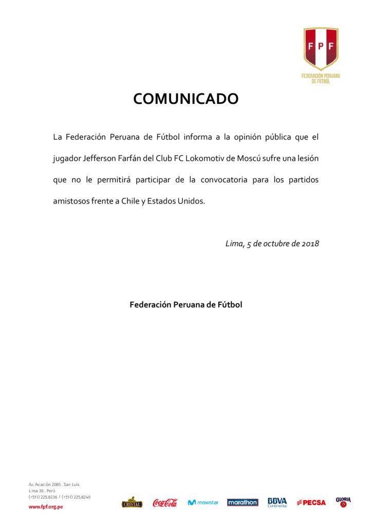 Jefferson Farfán quedó fuera de los amistosos de octubre de la selección peruana. (Foto: FPF)