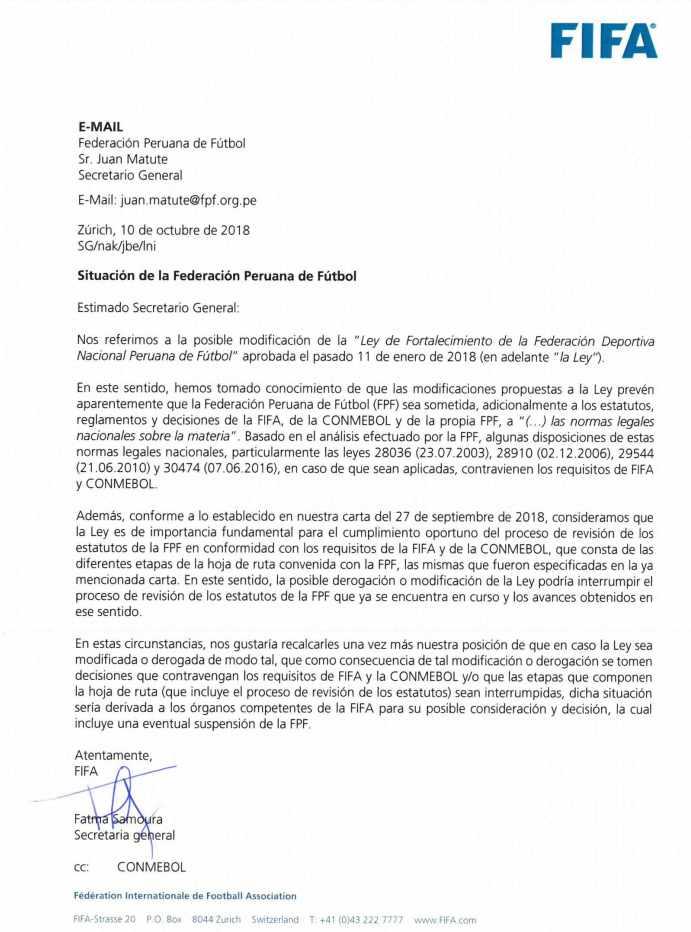 Esta la carta que FIFA envió a la FPF (Foto: FIFA).