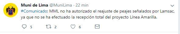 Municipalidad de Lima se expresó a traves de su cuenta de Twitter. (Foto: Twitter <code>MuniLima)&amp;nbsp;&quot; title=&quot;Municipalidad de Lima se expresó a traves de su cuenta de Twitter. (Foto: Twitter </code>MuniLima)&nbsp;