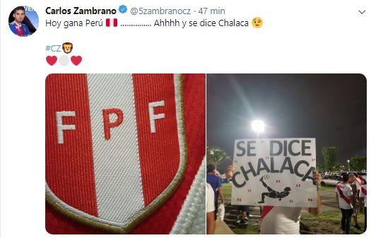 El mensaje de Carlos Zambrano previo al Perú-Chile. (Twitter)