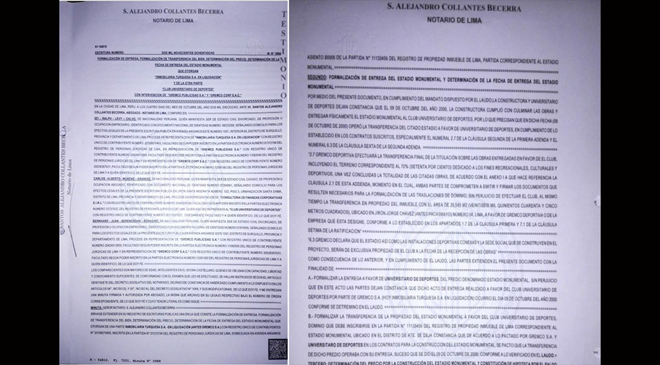 Las escrituras públicas que señalan la transferencia del estadio Monumental en favor de Universitario de Deportes. (Foto: Twitter @Gustavo_p4)