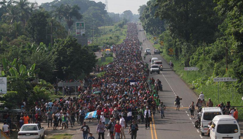 Caravana de migrantes hondureños. | Foto: EFE