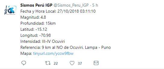 Reporte del IGP. (Foto: Twitter @sismos_peru_igp)