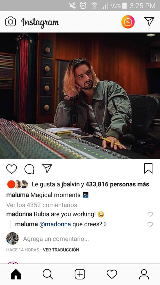 Madonna comenta fotografía de Maluma. (Foto: Instagram)