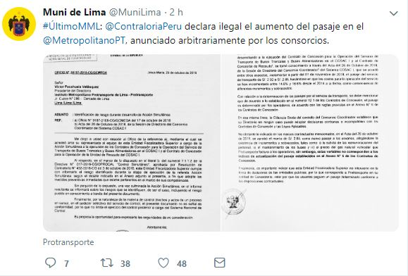 Tuit de la Municipalidad de Lima. (Foto: Twitter @MuniLima)