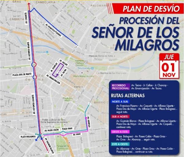Este es el plan de desvíos por última procesión del año. (Foto: Municipalidad de Lima)