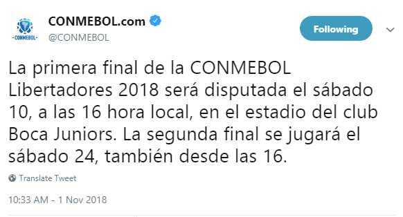 El mensaje oficial de Conmebol en Twitter.