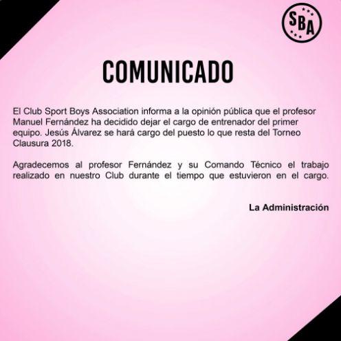 Comunicado de Sport Boys sobre la renuncia de Manuel Fernández.