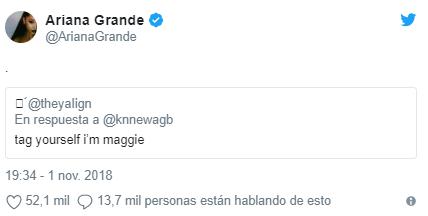 Ariana Grande en Twitter (Foto: Captura de pantalla)