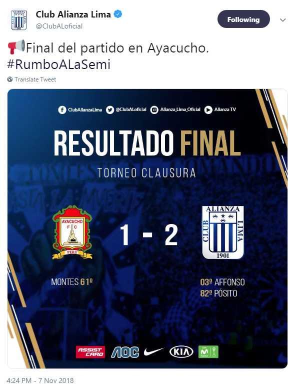 El Hashtag de Alianza Lima en Twitter tras vencer a Ayacucho FC.