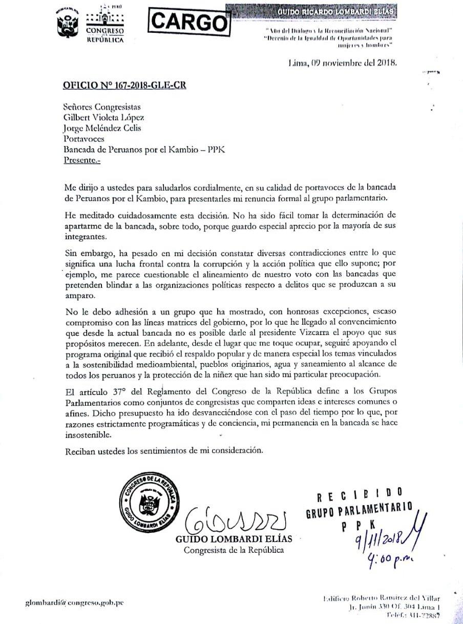 La carta de renuncia de Heresi. (Foto: Difusión)