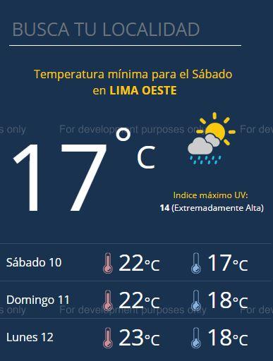 El pronóstico del tiempo para este sábado 10 de noviembre en Lima. (Foto: Senamhi)