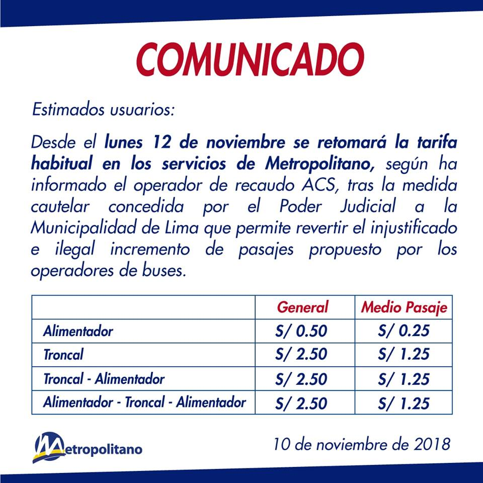 Comunicado Protransporte. (Foto: Facebook)