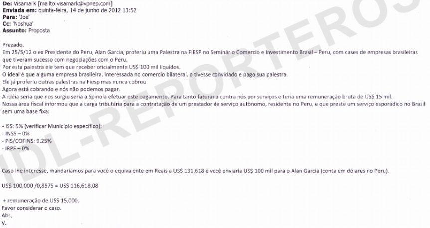 El correo electrónico entre 'Visamark' y 'Joe' en el que se comienza a coordinarn el pago de US$100 mil a favor de Alan García. (Captura: IDL-Reporteros)