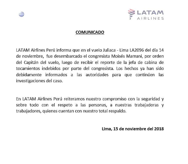Este es el comunicado de Latam sobre el caso de Moisés Mamani.