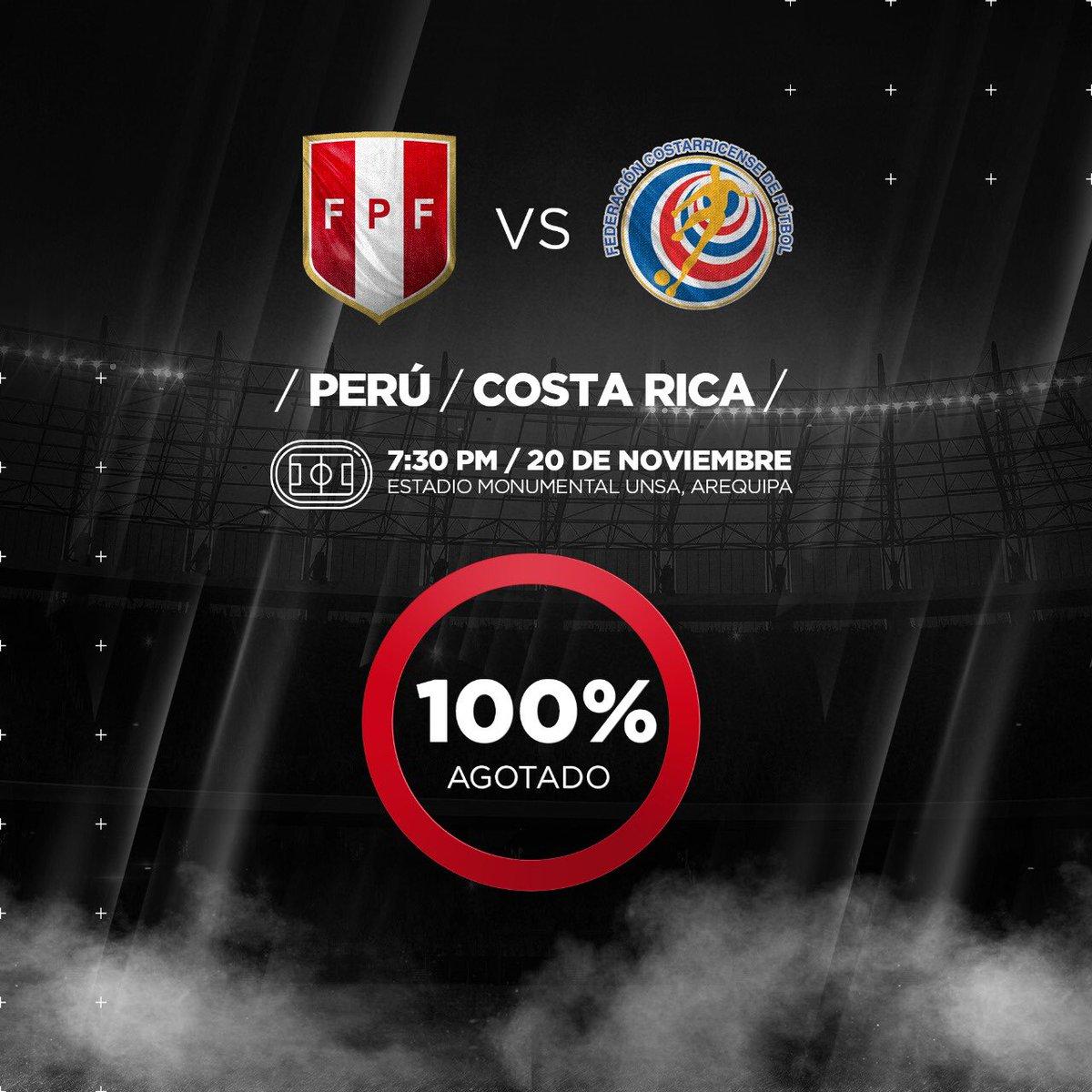 Perú vs. Costa Rica: se jugará en el Monumental de la UNSA de Arequipa a estadio lleno. (Twitter FPF)