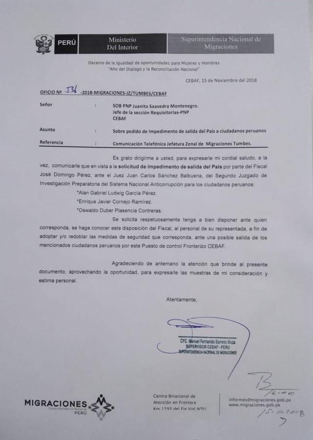Este es el pedido que envió Migraciones sobre Alan García. (Foto: Difusión)