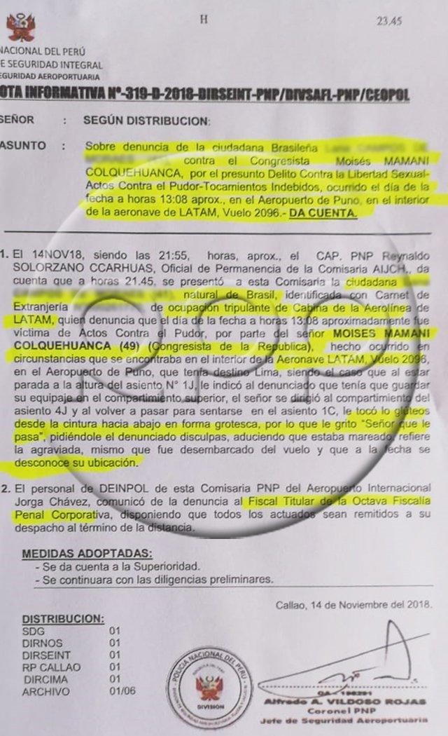 Esta es la denuncia policial presentada contra el congresista Moíses Mamani por presuntos tocamientos indebidos. (Foto: RPP)