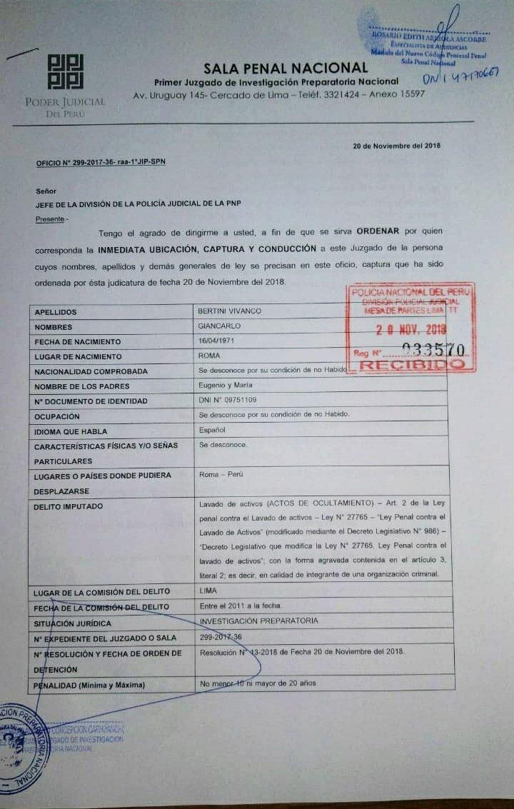 La orden de captura contra Giancarlo Bertini Vivanco, investigado por el caso Cócteles. (Foto: Migraciones)