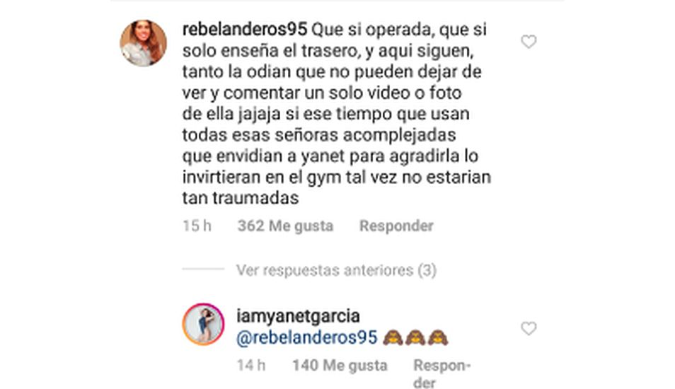 La presentadora Yanet García reaccionó ante un comentario de apoyo en su cuenta personal. (Foto: Instagram)