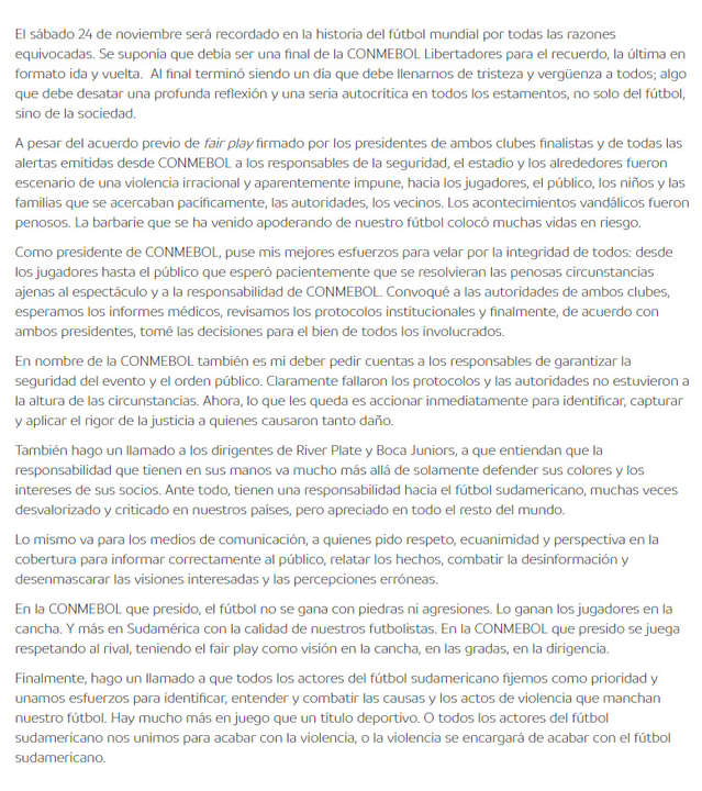 Presidente de la Conmebol y su carta dirigida a Boca Juniors y River Plate.