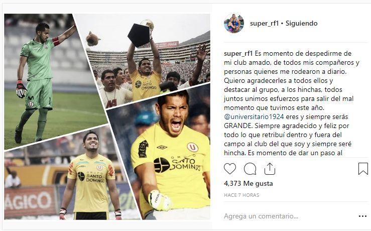 El post de Raúl Fernández en Instagram. (Foto: Instagram)