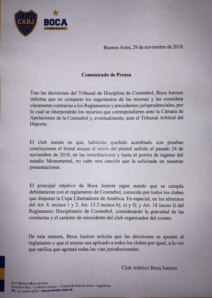 El comunicado de Boca Juniors. (Foto: Boca Juniors)